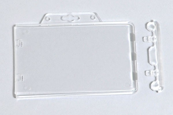 1840 6040 clear rigid poly horizontal permanent locking badge holder 50 pack idsupershop - Plastic Id Card Holder